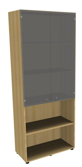 An image of Mega combi cupboard with mid height smoked glass doors