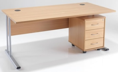 Dusk Rectangular Desk And Pedestal A WP-2