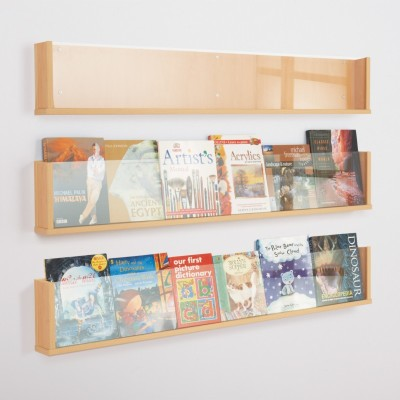 Wooden Shelf Style Wall Mounted Leaflet Holder Single