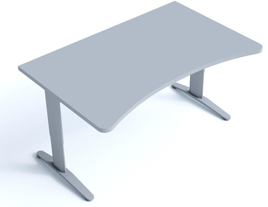 An image of Kompass Ergonomic Shaped Desk with T Legs - 900mm Wide