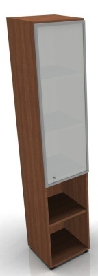 An image of Mega narrow combination cupboard with mid height frosted glass...