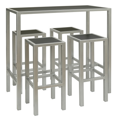 Brew Rectangular Table 4 X High Stools Black Silver