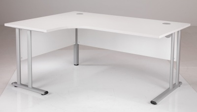White Left Hand Corner Desk