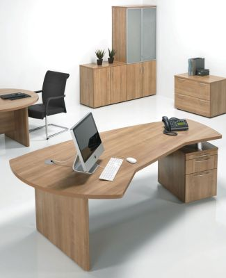 Modern E Space Office Desk With Two Drawer Pedestal In A Rich Cappuccino Finish