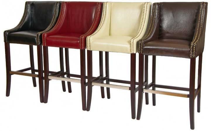 Rockwell Leather Bar Stools In Red Ivory Brown And Black