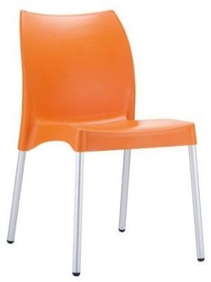 Babatti Multi Use Polypropylene Chair In Bright Orange With Silver Legs