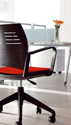 Spacio Computer Chair With Castors And Red Upholstered Seat And Black Back Rest