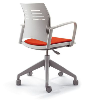 Spacio Office Chair With Red Upholstered Seat And Shaped Back Support In Light Grey