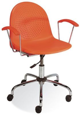 Amigo Designer Swivel Office Chair In Orange Using Polypropylene For The Seat, Chrome Base And Plastic Armrests