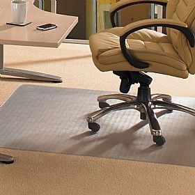 Executive Office With Leather Chair Using Cleartex Pvc Chair Mat For Low Pile Carpet Protection
