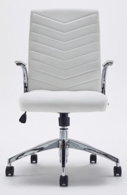 Baresi White Leather Executive Chair