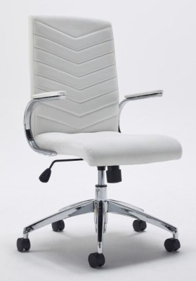 Baresi White Leather Designer Executive Chair