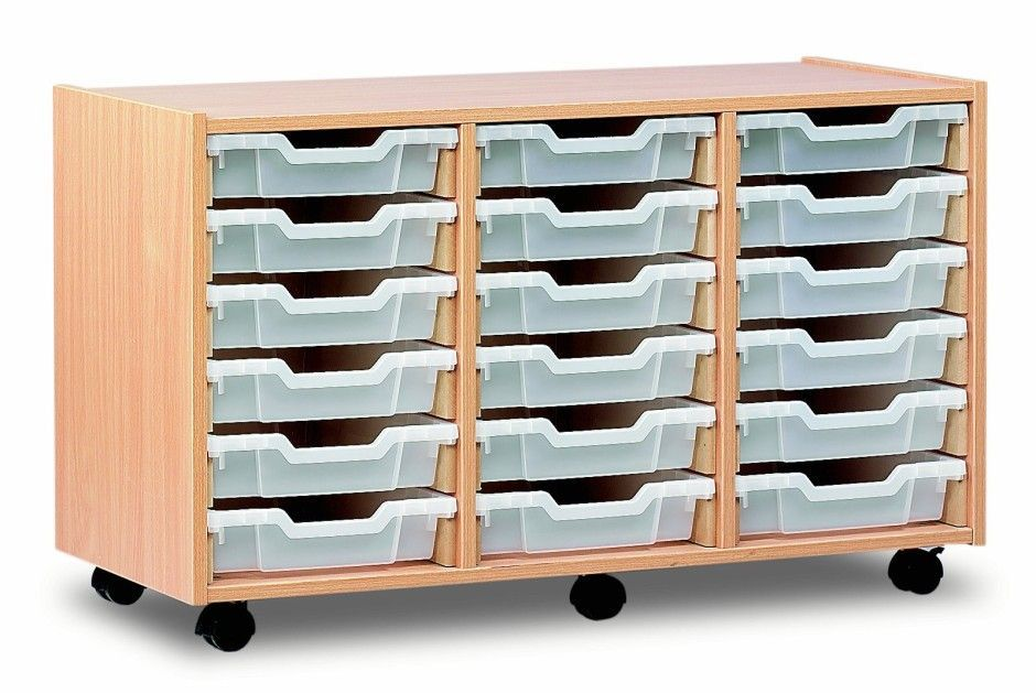 Triple shallow storage unit 18 shallow trays online for Shallow shelving unit