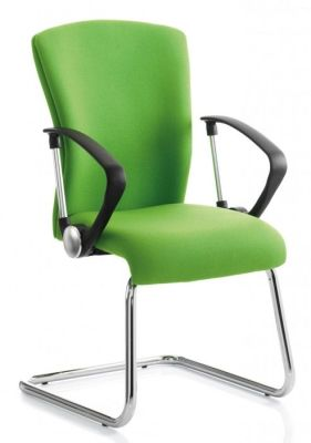 Poise Conference Seat In Green Upholstery With Black Loop Arms And Large Back