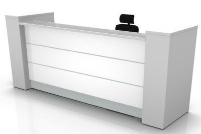 Valde Straight Reception Desk With A High Gloss White Front And Storage End Supports