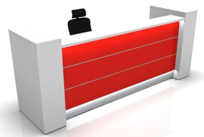 Valde Reception With A Burgundy Front Panel And End Column Storage Supports