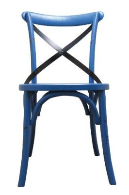 Trieste Wooden Side Chair Distressed Blue Finish