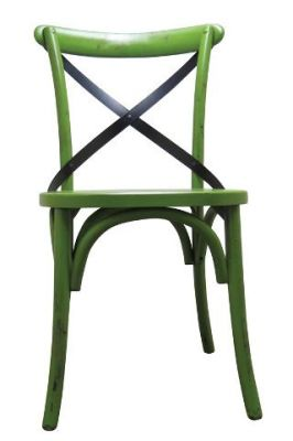 Trieste Wooden Side Chairs Distressed Green Paint Finish
