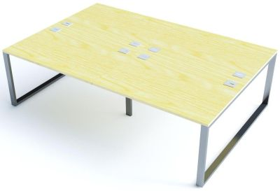 Avalon Plus Four Person Bench Desk With Sliding Maple Tops
