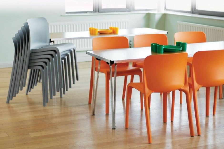 ... Canteen With POP Orange And Grey Stackable Chairs ...