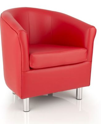 Red Tritium Faux Leather Tub Chair