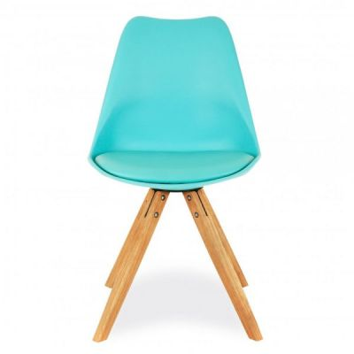 Pyramid Style Chair With A Turquoise Seat Front View