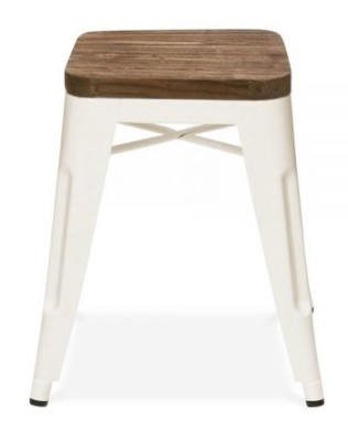 Xavier Low Stool In White With A Wooden Seat