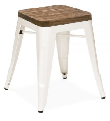 Xavier Low Stool With A Wooden Seat