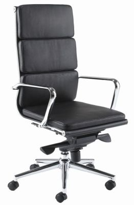 Eames Director Swivel Chair In Black Leather With Chrome Frame