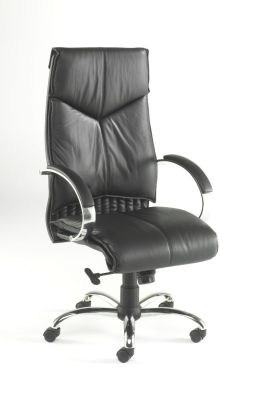 Valentino Black Leather Directors Chair With Designer Chrome Base, Leather Padded Arms And Contemporary Styling And Detail