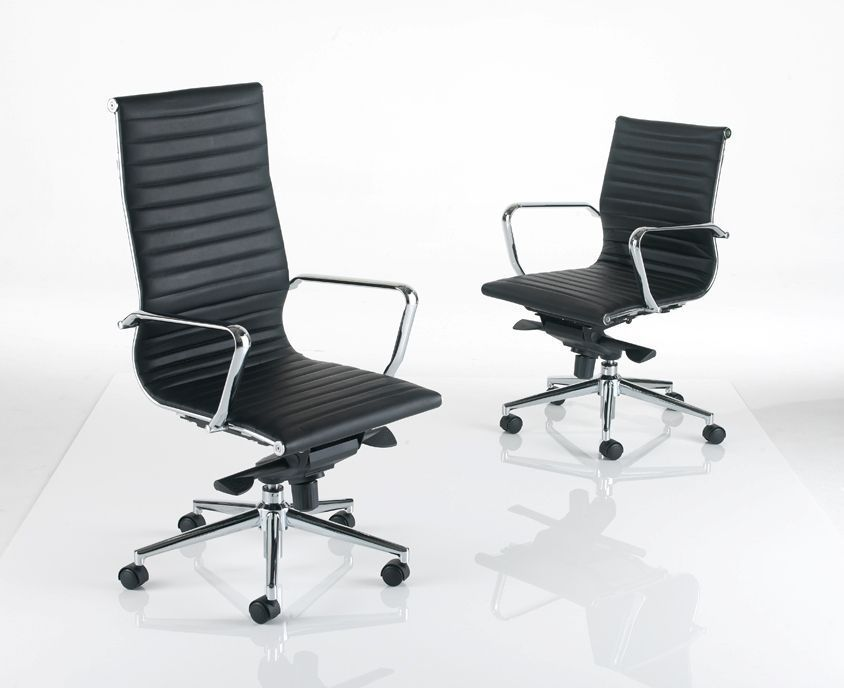 ... Two Aria Executive Chairs In Black Leather High And Low Back With Arm  Rests