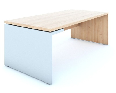 Mito Executive Desk In Lighyt Sycamore With A High Gloss White Side Panel