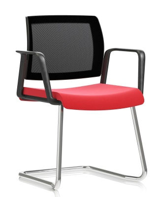 Knd Mesh Baclk Cantilver Chair With Arms