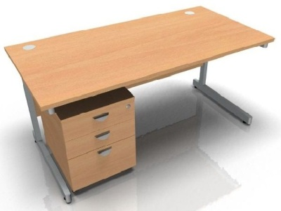 Abacus Rectangular Desk And Tall Pedestal
