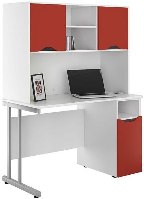 Uclic Desk With Dupboard Doors In Red