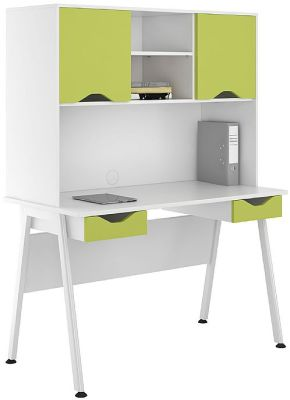 UCLIC Aspire Desk with Closed Hutch and Double Drawer