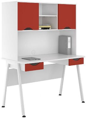UCLIC Aspire Desk With Two Drawers And Doors With Red Fronts