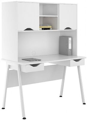 UCLIC Aspire Desk With White Drawer Fronts And Doors