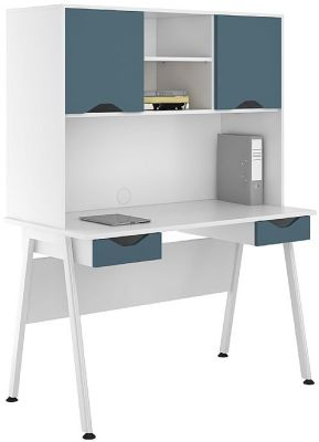 ICLIC Desk With Fronts And Doors In Steel Blue