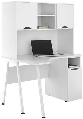 UCLIC Aspire Corner Desk With White Doors And Closed Hutch