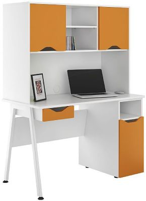 UCLIC Aspire Desk With Orange Doors And Dawer Front
