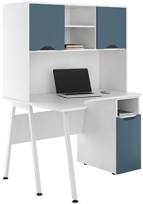 UCLIC Corner Desk With Steel Bllor Doors And Closed Hutch