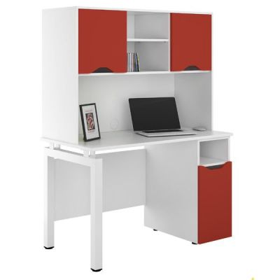 UCLIC Engage Desk With Desk Cupboard And Doors In Red