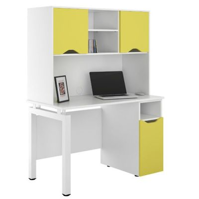 UCLIC Engage Cupboard Desk And Overhead Storage With Doors In Peach Yellow