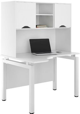 UCLIC Engage Corner Desk With Ohverhead Cupboards And White Doors