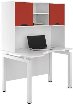 UCLIC Engage Corner Desk With Overhead Cupboard And Red Doors