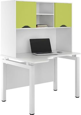 UCLIC Engage Corner Desk With Overhead Storage And Lime Green Doors