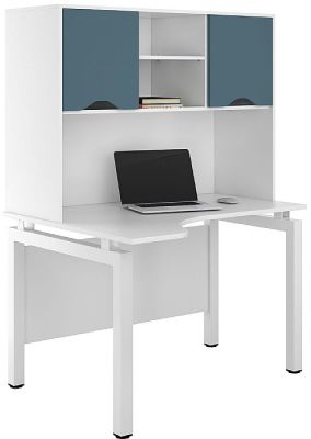UCLIC Engage Corner Desk With Overhead Cvupboards And Doors In Steel Blue