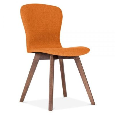 Detroit Dining Chair Orange Fabric Front Angle