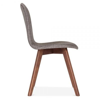 Detroit Dining Chair Grey Fabric Side View